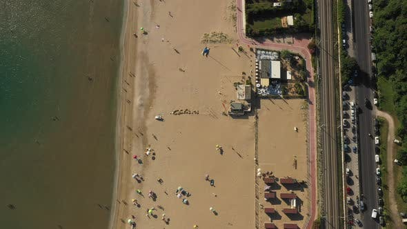 Thumbnail for Top View, Drone Moving Above Summer Sea Coast, Perfect Public Golden Sandy Beach with Chairs
