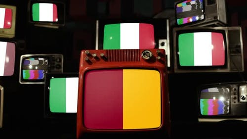 Flag of Rome and Flags of Italy on Retro TVs.
