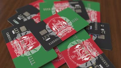 Pile of Credit Cards with Flag of Afghanistan