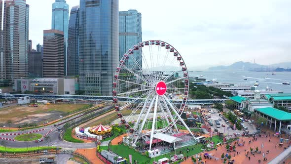 Thumbnail for Aerial View Around The Hong Kong Observation Wheel. Hong Kong