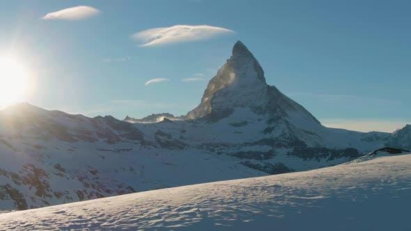 Matterhorn Mountain at Sunset in Winter Evening. Swiss Alps. Switzerland. Aerial View