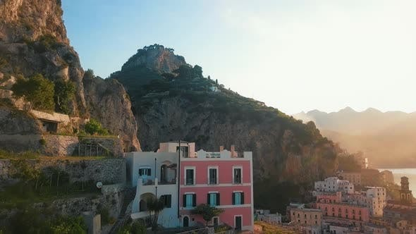 House on a Cliff By Dawn, Amalfi Coast
