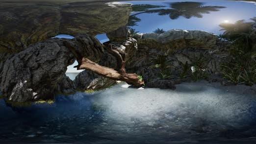 Thumbnail for VR 360 Cave Paradise Blue Sea and Sky. Paradise on Beach Tropical Island