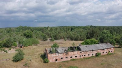 Drone Shot of Destroyed Farm in Chernobyl Zone