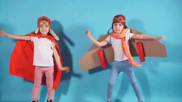 Portrait of Beautiful Cute Children Pilots