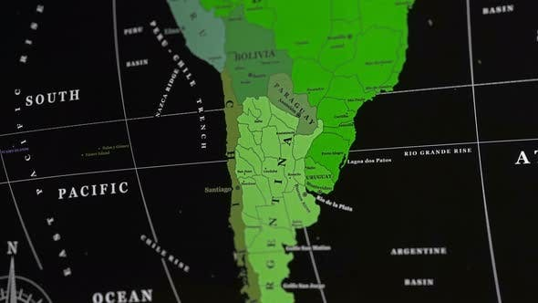 Thumbnail for South American Countries On A World Map.
