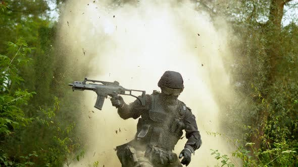 Explosion behind soldier, slow motion