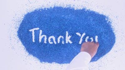 Blue Writing Thank You