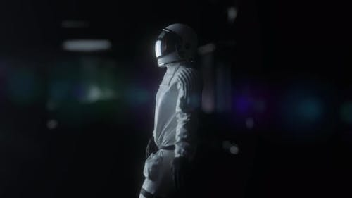 Astronaut Walking in Futuristic Spaceship Scifi Shuttle Corridor