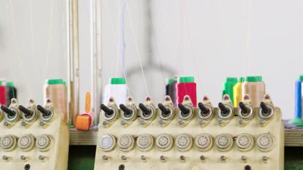 Modern Industrial Equipment for Sewing in a Clothing Factory