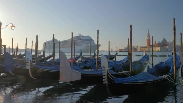 Thumbnail for Gondola Boats and a Cruise Ship in Venice Italy