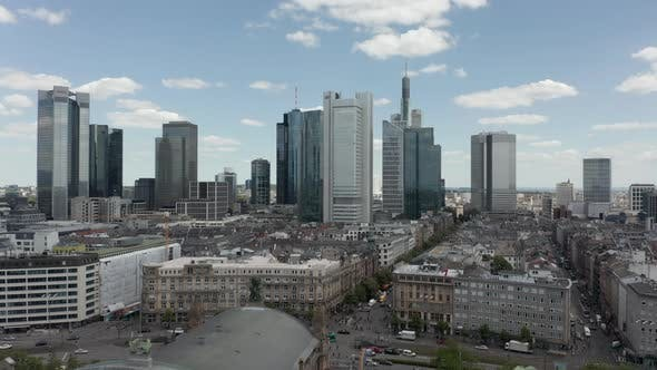 Thumbnail for Forward Flight Over Frankfurt Am Main, Germany Central Train Station with Skyline View on