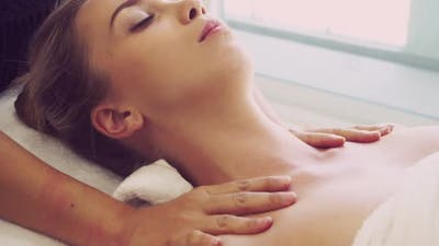 Woman Gets Shoulder Massage Spa By Therapist