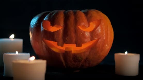 Thumbnail for Halloween Pumpkin On Dark Background