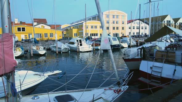 Thumbnail for Yachts and Sailboats Docked in Copenhagen Port, Summer Tourism, European Town