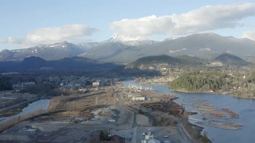 Aerial View Squamish Bc Canada Harbor Riverfront Mt Garibaldi Background