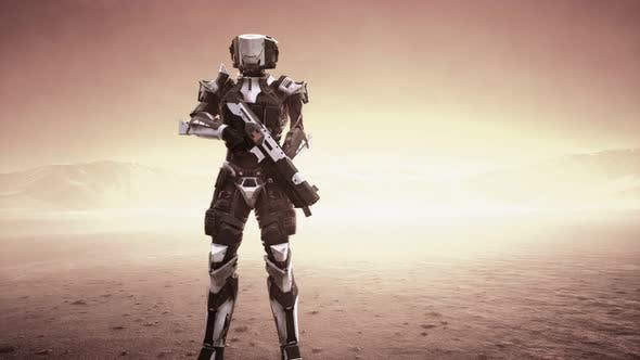 Thumbnail for Futuristic Soldier in Desert at Sandstorm
