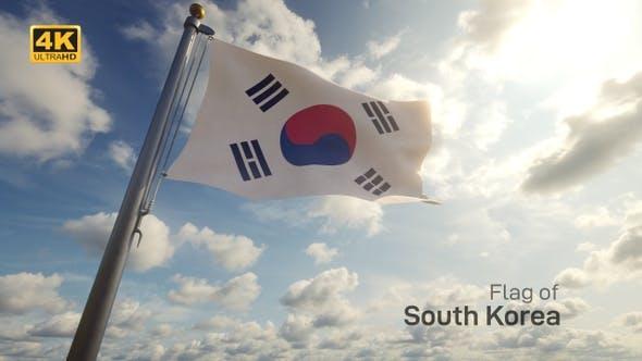 South Korea Flag on a Flagpole - 4K
