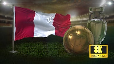 8K Peru Flag with Football And Cup Background Loop