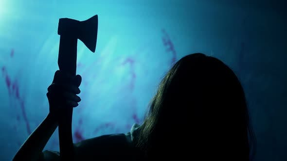 Bloody Female Butcher Killing Victim in Darkness, Manslaughter, Nightmare