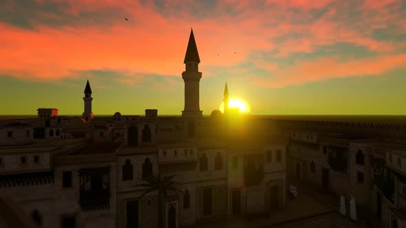 Thumbnail for City Mosque And Sunset Landscape