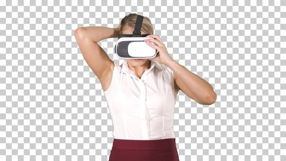 Woman with VR headset glasses device Virtual reality concept