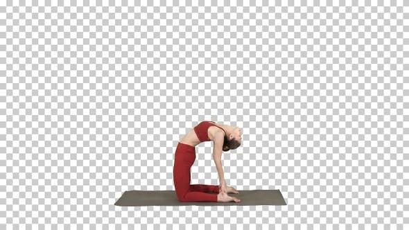 Sporty beautiful young woman practicing yoga doing Ushtrasana,