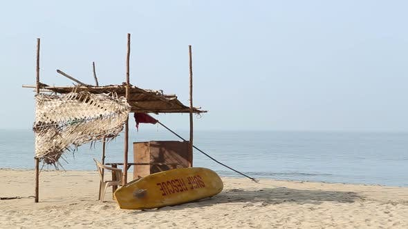 Resting place at sandy beach in Goa.