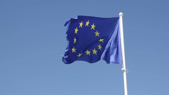 Thumbnail for European Union recognizable symbol on pole in slow-mo 1920X1080 HD footage - Slow motion    of EU fl