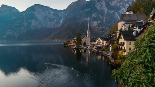 Sunrise View of Hallstatt Mountain Village with Hallstatter Lake, Austria