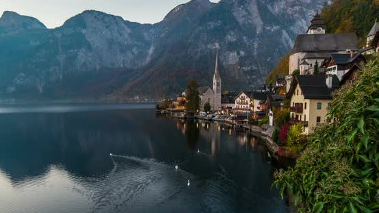 Thumbnail for Sunrise View of Hallstatt Mountain Village with Hallstatter Lake, Austria