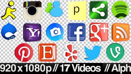 Thumbnail for 17 Videos of 3D Social Media Icons Rotating - Loop