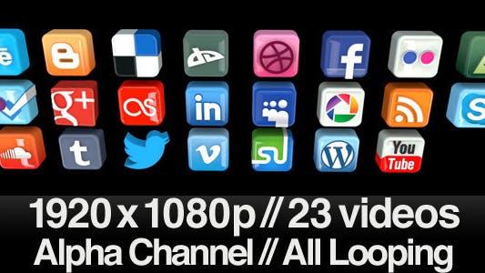 Thumbnail for 23 Videos of 3D Social Media Icons Rotating - Loop