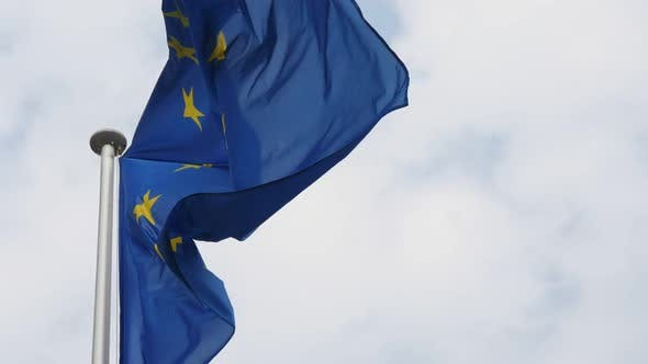 Thumbnail for Great EU Flag Fluttering Proudly in Brussels As a Symbol of Freedom in Slo-mo
