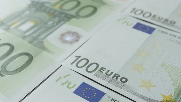 Thumbnail for Close-up of European Union paper currency in hundred denominations 4K 2160p 30fps UltraHD tilting fo