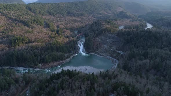 Thumbnail for Skykomish River Washington Aerial Shot Of Sunset Falls Train Trestle Waterfall Forest Landslide