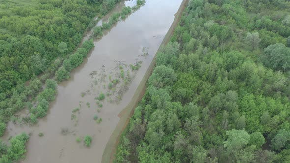 Spring natural disaster of river after heavy raining 4K drone video