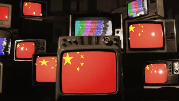 Thumbnail for China flags and retro Televisions.