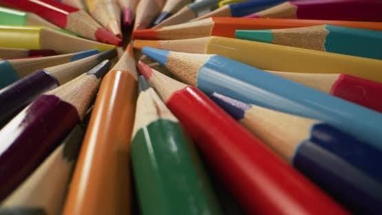 Color Pencils Arranged in Circle