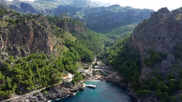 Thumbnail for Aerial Drone Video Footage of Port De Sa Calobra Bay, Mallorca