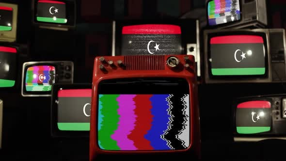 Flag of Libya and Retro TVs.