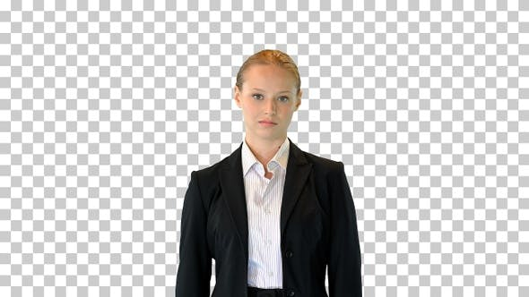 Young business woman standing doing nothing, Alpha Channel