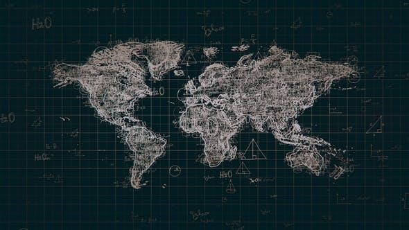 Thumbnail for Black Abstract Math Global Map 4K