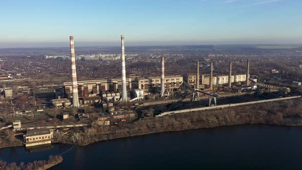 Aerial View of High Chimney Pipes from Coal Power Plant. Production of Electricity with Fossil Fuel