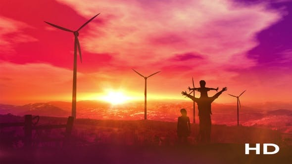Thumbnail for Father With Children Watching Wind Power Plants HD
