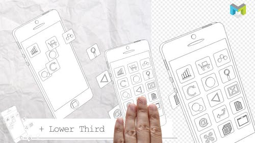 Phone And Icons Elements - Whiteboard Style