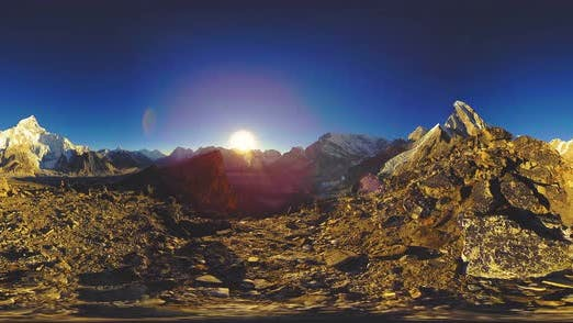 Thumbnail for VR of Mount Everest Golden Sunset Time Lapse. The Sunlight on the Peak
