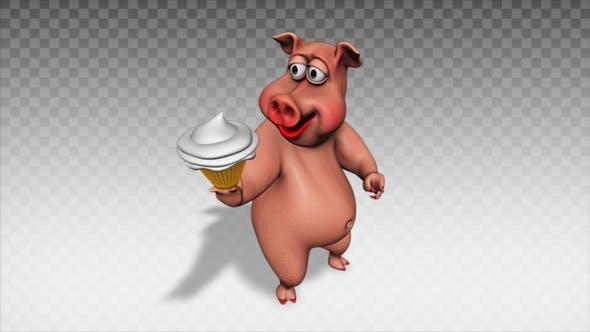 Cartoon Pig - Ice Cream