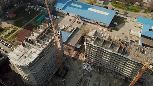 Crane Near Unfinished Building, Top View.