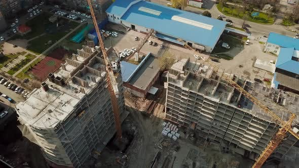 Thumbnail for Crane Near Unfinished Building, Top View.
